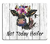 Smooffly Funny Quote Mouse Pad, Not Today Heifer,Office Desk Accessories, Cow Gifts for Her, Office Decor, Cow Mousepad, Quote Mouse Pad, Desk Decor