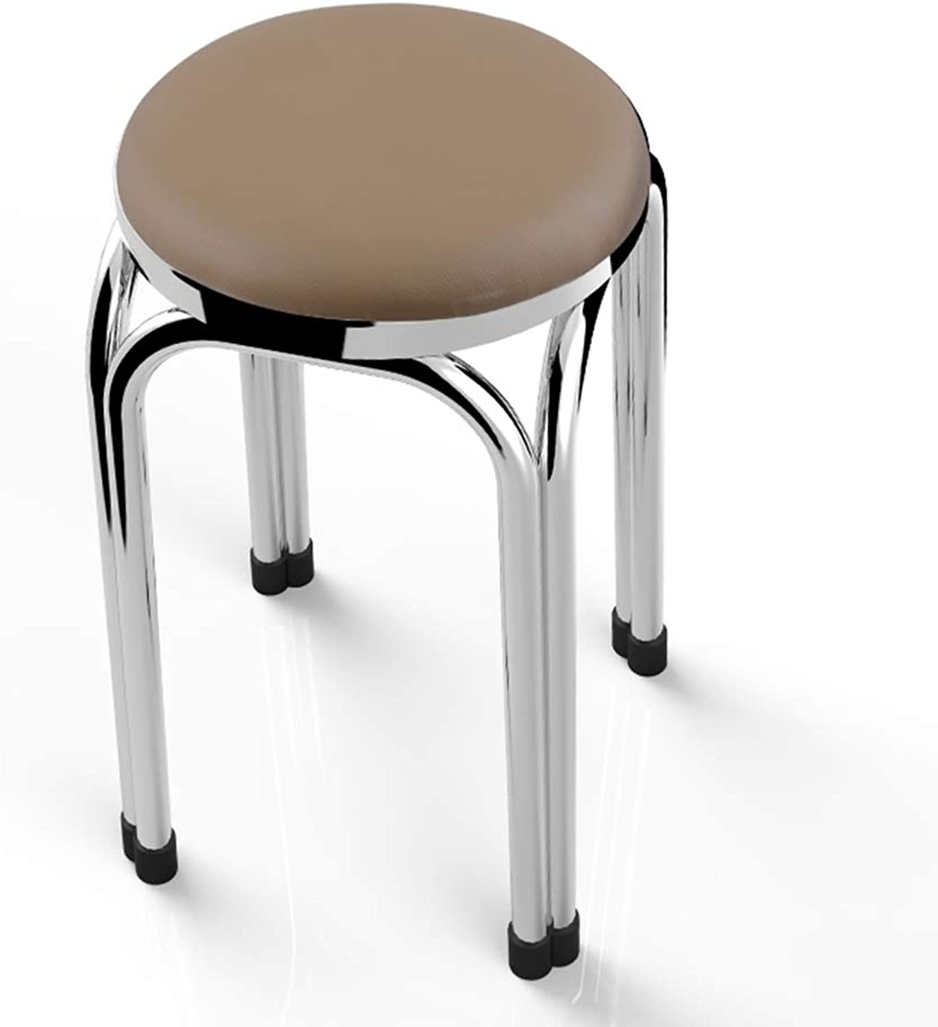 ZXQZ Stainless Steel Folding Soft Stool 47x29cm Household Dining Table Round Stool A Variety of colors Optional (color   C)