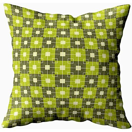 July kussenslopen huishoudkussen SO kussenslopen werpen, blokjes geometrische groene crème, turquoise geel
