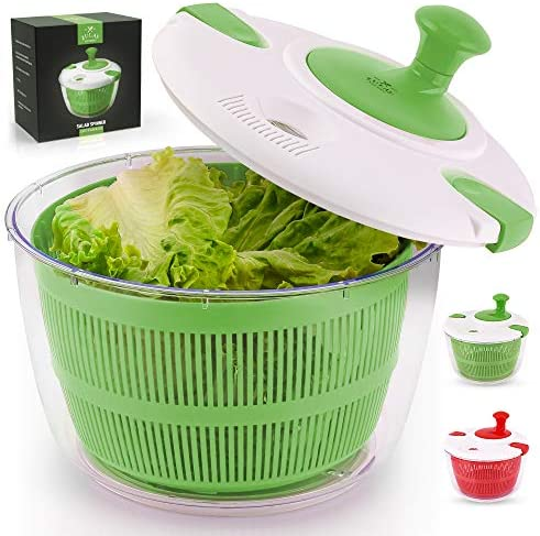 Zulay Kitchen Salad Spinner Large 5L Capacity Manual Lettuce Spinner With Secure Lid Lock Rotary product image