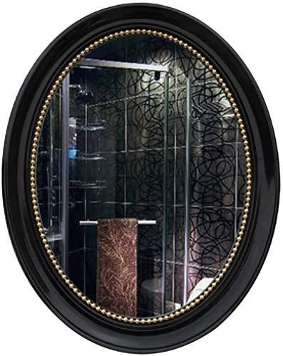 Espejo de Pared Vanidad montada en la Pared S Ovalado Retro Marco con Hardware de fijación Colgante de Pared para baño de baño 57cmx72cm 15 Color USA para Decorar la habitación (Color : Black Gold)