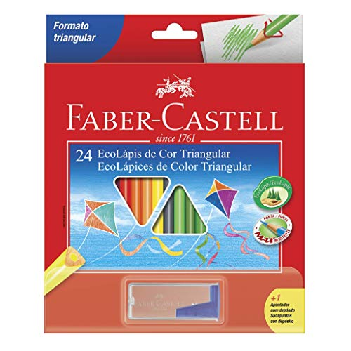 Kit Lápis de Cor Triangular + Apontador com Depósito, Faber-Castell, EcoLápis, 120524+1APT, 24 Cores