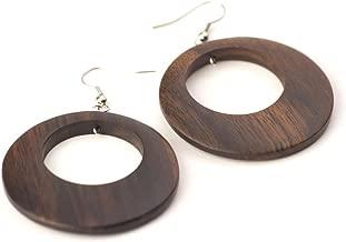 81stgeneration Women's Wood .925 Sterling Silver Brown Round Disc 45 mm Dangle Hoop Earrings