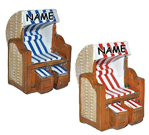 alles-meine.de GmbH 1 Stück _ 3D Figur - Strandkorb blau / rot weiß - incl. Name - z.B. als Tischdeko - Mini Deko / Nordsee Strandkörbe Urlaub Meer / Dekofigur Ostsee Meer Nordse..
