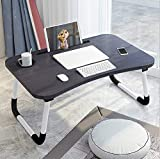 Sorfity Foldable Laptop Bed Table Lap Desk Stand, Serving Tray Dining Table with Slot, Notebook Stand Holder, Bed Tray Laptop Desk for Eating Breakfast, Working, Watching Movie on Bed/Couch/Sofa/Floor