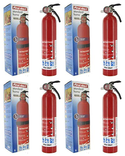 First Alert bvd HOME1 ABC 2.5 Pound Rechargeable Fire Extinguisher-HOME1-1-A:10-B:C-10-Year Warranty 4 Pack
