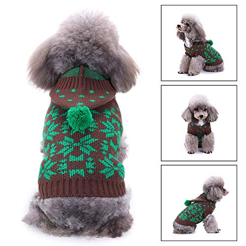 Christmas Dog HoodedKnitted Sweater, Dog Holiday Sweaters Year Christmas Sweater Pet Clothes Small Dogs Puppy Kitten Cats