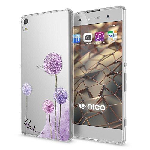 NALIA Handyhülle kompatibel mit Sony Xperia XA, Slim Silikon Motiv Hülle Phone Cover Crystal Schutzhülle Dünn Durchsichtig, Etui Handy-Tasche Transparent, Backcover Bumper, Designs:Dandelion Pink