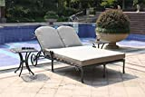 iPatio Athens Gun Metal 3 Piece Outdoor Patio Synthetic Adjustable Aluminum Pool Double Chaise Set (Cast Shale)