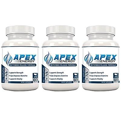 APEX ENERGY - Best Energy Pills - Powerful & Proven formula - Caffeine, Green Tea, Apple Cider Vinegar, Acai Berry, African Mango, Grapefruit, Raspberry Ketones, Kelp, & Resveratrol Extract. (60 CT)