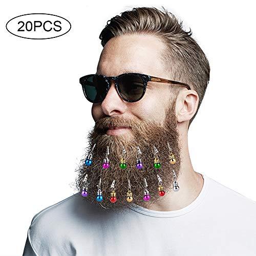 Fabur 16 Piezas Adornos para Barbas, con 4 Campanas Vibrantes para navideñas para Barbas Ganchos de Barba de Santa Claus.Diseño de Navidad,un Regalo Genial para Navidad y Año.