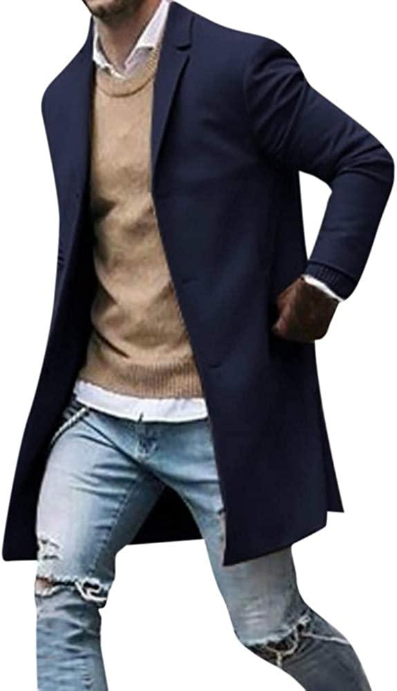 iCODOD Men's Trench Coat Winter Blazer Max 69% OFF Jacket Max 56% OFF Warm Suit Windroof
