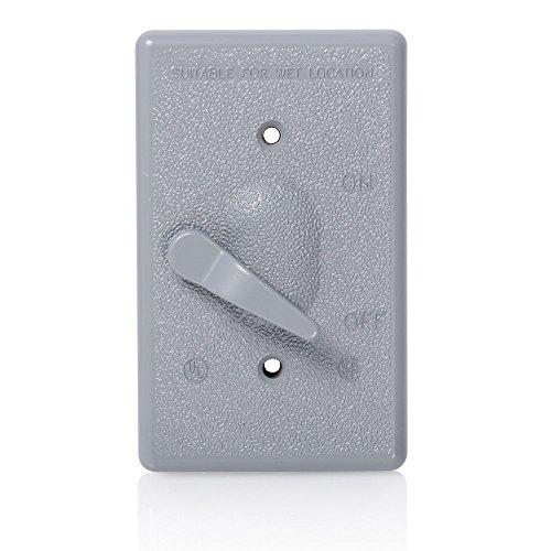 Leviton 004-0WM1S-0GY Placa Metálica para Intemperie para Interruptor de Palanca Montaje Vertical, Gris,…