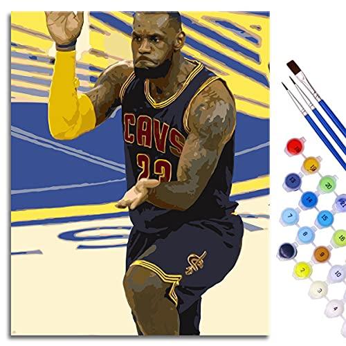 Kit de pintura al óleo de bricolaje por números para adultos, niños, principiantes, pequeño emperador, dibujo con pinceles, decoración navideña, regalos, 50 x 40 cm, estrella de baloncesto enmarcada