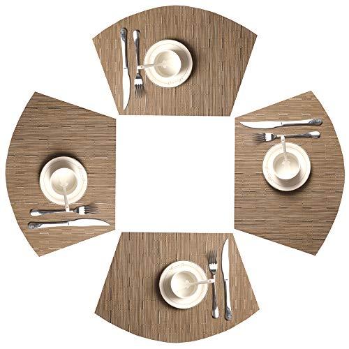 SHACOS Juego de 4 Manteles Individuales Lavables Mantel de PVC Resistentes,Antideslizantes y repelentes de la Suciedad,para la Mesa de Comedor de Cocina(Marrón bambú)