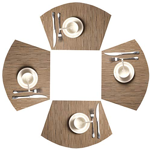 SHACOS Round Table Placemats 70% PVC 30% Polyester Heat Resistant Table Mats Washable (4, Bamboo Tan)
