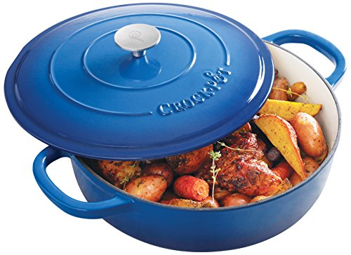 Crock Pot 11199902 Artisan 5 Quart Enameled Cast Iron Braiser Pan Sapphire Blue