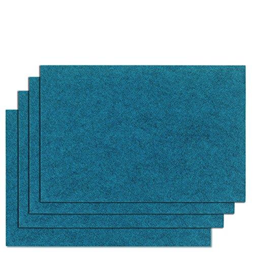 kela (4 x 12322 Set de Table Felia-4 Pièces, Feutre, Bleu Pétrole, 45 x 30 x 2 cm