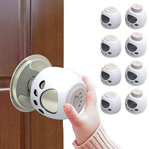 Door Knob Covers -8 Pack- Upgraded Original Design Child Proof Door Knob Covers - Hassle Free, Easy to Install Baby Proof Door Knob Covers