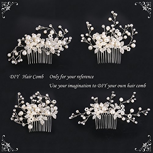 Clearine Damen Künstliche Perlen Kristall Blume Handarbeit DIY Braut Hochzeit Haarkamm Haarschmuck Ivory-farbe - 4