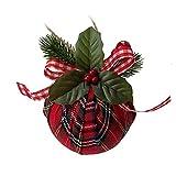 UUHUKP 12 adornos navideños de bolas a cuadros, adornos navideños para colgar en Navidad, bolas rojas y negras con verde de bayas para decoración de fiestas de árbol de Navidad, decoración festiva