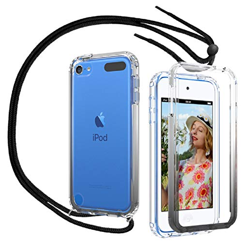 iPod Touch 7 Case, iPod Touch 6 Case, iPod Touch 5 Case with Neck Cord Lanyard Strap, OWKEY Full Body Crystal Clear Case with Built in Screen Protector, Shock Drop Proof Slim Fit Cover, Transparent