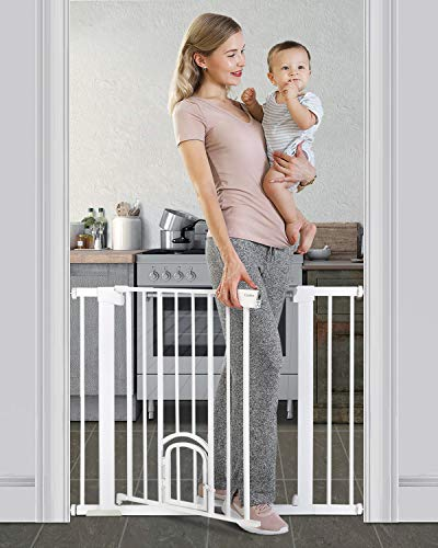 Cumbor 40.6'Auto Close Safety Baby Gate with Arch Cat Door, Extra Wide Durability Pet Gate for Dog, Easy Walk Thru Child Gate for Stairs,Doorways. Included 2.75-Inch and 5.5-Inch Extension