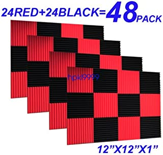 48 Pack BLACK RED Acoustic Foam Panel Wedge Studio Soundproofing Wall Tiles 12