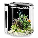 YCTECH 1.2 Gallon Betta Aquarium Starter Kits Fish Tank with LED Light and Filter Pump Black (320black)