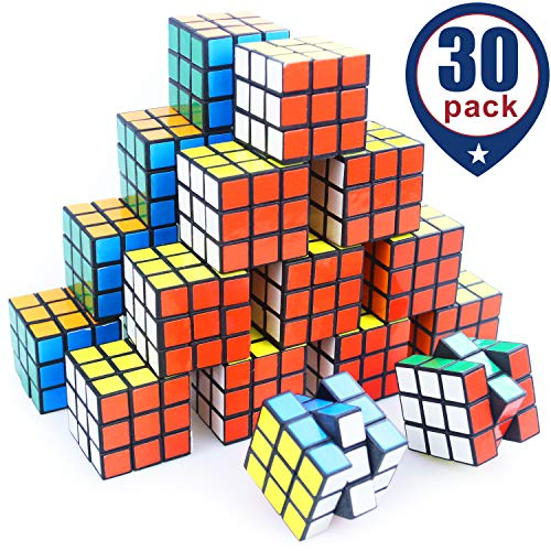 Mini Cube, Puzzle Party Toy, Eco-Friendly Material with Vivid Colors,Party Favor School Supplies Puzzle Game Set for Boy Girl Kid Child, Magic Cube Goody Bag Filler Birthday Gift, Pack of 30