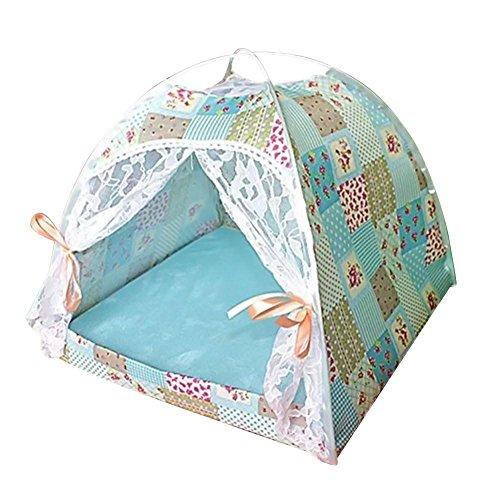 cineman Huisdier Tent Huisdier Tipi Hond Kattent Hondenbed Lace tent voor huisdieren ademend met beide zijden bruikbaar afneembaar wasbaar matras voor honden en katten zomer, A