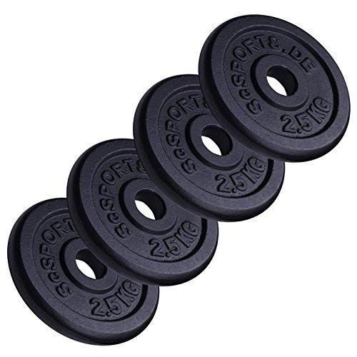 ScSPORTS 10 kg Hantelscheiben-Set, 4X 2,5 kg, Gusseisen Gewichte, 30/31 mm Bohrung, geprüft und bestanden durch Intertek Siehe Hinweis 1