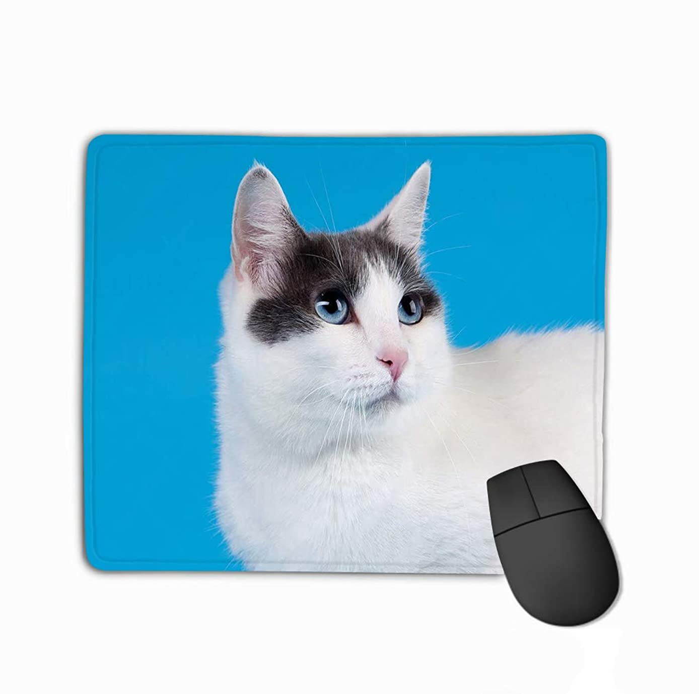 Mousepad Non Slip Rubber Personalized Unique Gaming Mouse Pad 11.81 X 9.84 Inch Bicolor Japanese Bobtail Sky Blue
