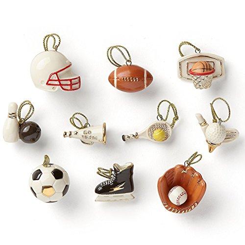 Lenox Dreaming of Sports Miniature Tree Ornaments Set 10 Soccer Golf Football