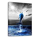 Canvas Wall Art for Bathroom Family Wall Decorations for Bedroom Modern Black and White Ocean Wall Decor Paintings Blue Fish Hang Pictures Artwork Inspirational Canvas Art Prints Kitchen Home Decor