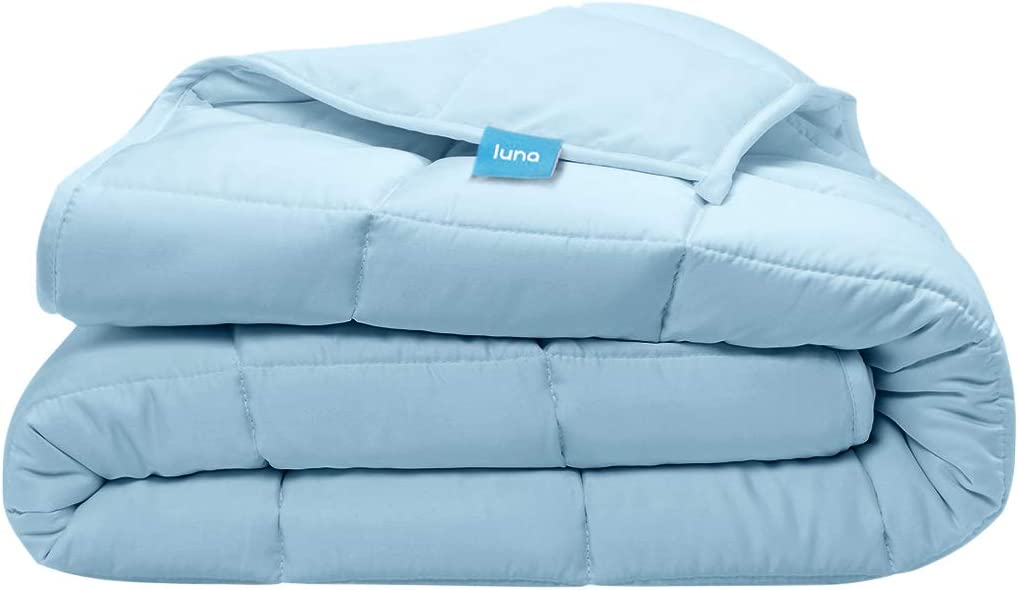 Luna Adult Weighted Blanket - Silky Cooling Bamboo & Premium Glass Beads - 15 Lbs - 60x80 - Queen Size Bed - Designed in USA - Heavy Cool Weight for Hot & Cold Sleepers - Light Blue