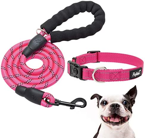 Reflective Pink Dog Collar and Leash Set 5ft Strong Dog Leash with Classic Adjustable Puppy product image