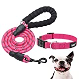 PUPTECK Reflective Dog Collar and Leash Set - 5ft Strong Dog Leash with Classic Adjustable Dog Collar, Rope Leash for Dogs, Dog Collar with Quick Release Buckle, 2 Packs