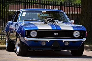 Chevy 69 SS Camaro Front Blue HD Poster Classic Muscle Car Hot Rod 18 X 12 Inch Print