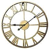 ZUJI Reloj de Pared Vintage 60CM Reloj de Pared Grande XXXL Reloj Silencioso Reloj Decoración para Hogar Cocina Salon Oficina Comedor Habitación (Dorado)