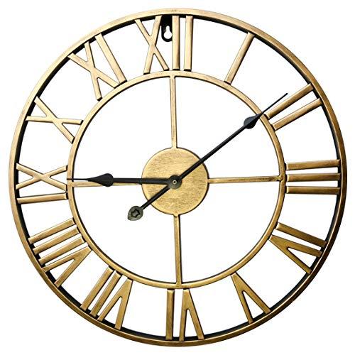 ZUJI Wanduhr Vintage, 60cm Wanduhr Groß XXXL Wanduhr Lautlos Wanduhr Ohne Tickgeräusche Wanduhr Dekorative für Küche Wohnzimmer Schlafzimmer (Golden)