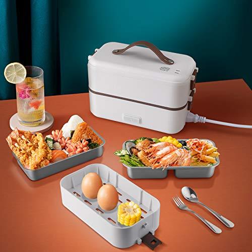 SUMKUMY 300W Scaldavivande Elettrico 3 in 1 per Ufficio, Lunch Box Elettrico in Acciaio Cuocere a Vapore, Lunch Box Elettrico Multifunzione con Cucchiaio e Forchetta
