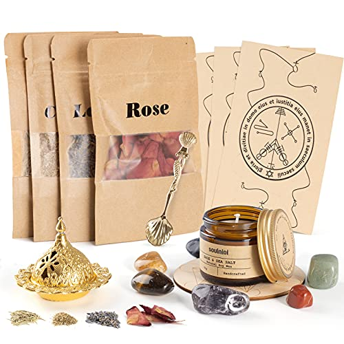 Soulnioi Witchcraft kit for Wiccan Supplies and Tools   sage Candles for Cleansing House + 4 Herbs for Witchcraft + 7 Healing Crystals, for Altar Supplies, Wiccan Decor, Wiccan Gifts for Women