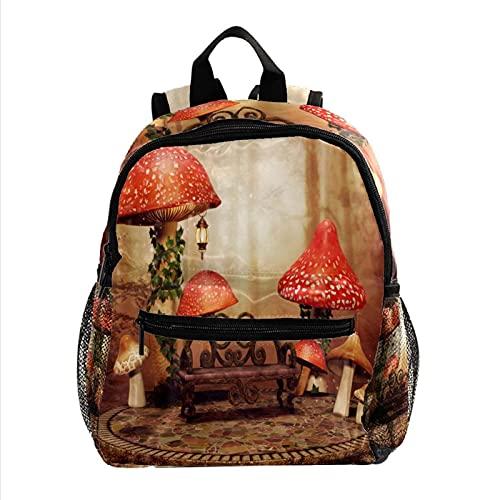 RuppertTextile Kleiner Rucksack für Mädchen Jungen Fashion Sackpack Duffel Reisetasche Große rote Pilze Holzbank mit Schulter-Reißverschluss