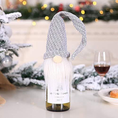 pZgfg Christmas Hat Decoraciones Navideas Botella De Vino Tinto Champagne Bottle Cover Set Pap Noel Sombrero Traje Fiesta De Navidad Cena Decoracin De Mesa, 5
