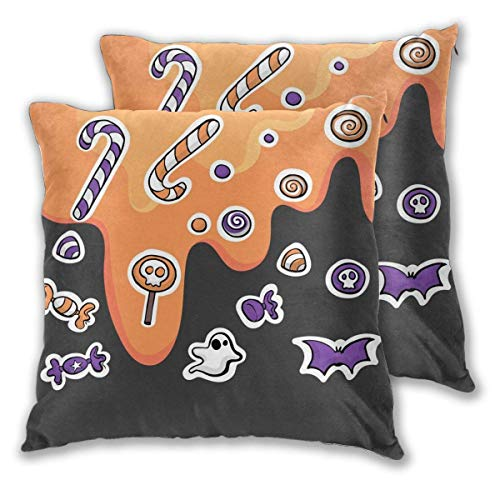 Kissenbezug 2er Set Halloween Magic Candy Spooky Bat Throw Kissenbezüge Muscheln für Couch Büro Schlafzimmer Home Decoration 45 * 45cm