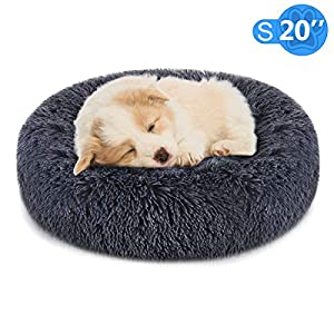 "FOCUSPET Dog Bed Cat Bed Donut,Pet Bed Faux Fur Cuddler Round Comfortable for Small Medium Large Dogs Ultra Soft Calming Bed,Self Warming Indoor Sleeping Bed Multiple Sizes (20""/24""/32""/40""/46"")"