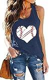 TAOHONG Heart Print Baseball Tank Top Women Cute Baseball Graphic Casual Summer Sleeveless Shirt Vest Top (Navy Blue, X-Large)