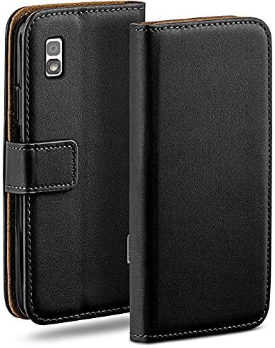 moex Klapphülle für LG Google Nexus 4 Hülle klappbar, Handyhülle mit Kartenfach, 360 Grad Schutzhülle zum klappen, Flip Hülle Book Cover, Vegan Leder Handytasche, Schwarz