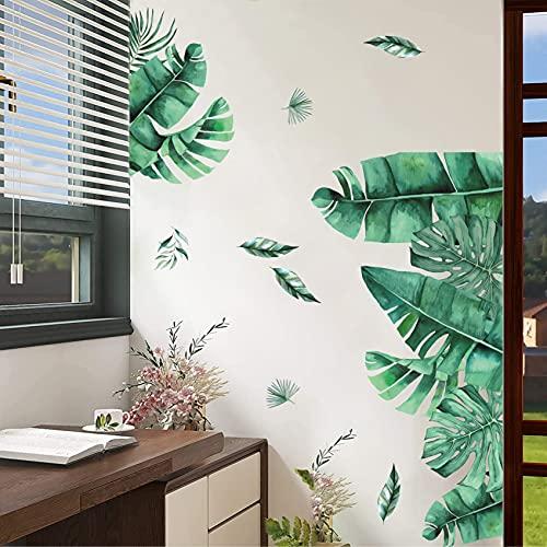 ANHUIB Hoja Verd Pegatina de Pared,Acuarela Hojas Verde Pegatinas de Pared para Sala de Estar Decoración,Tropicale Planta Pegatinas de Pared,Moderno Adhesivos Pared Planta para Dormitorio Oficina Deco